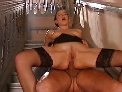 German Brunette Fucked On Stairs Anal