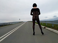 Outdoor crossdresser on public street – lingerie & heels