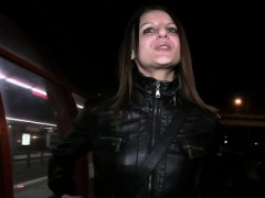 Dark Haired Amateur Banging Outdoors At Night
