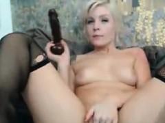 Hot Blonde Sucks A Fucks With A Massive Dildo