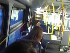 stroking on a bus