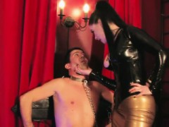 Leather Mistress Dominating Cbt Sub