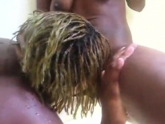 A Beautiful Black Babe Tongues Her Hot African Lovers