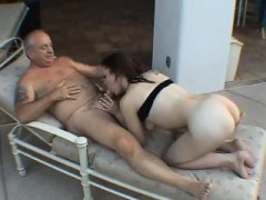 Hot Brunette Gives Granpa A Headjob Beside The Pool