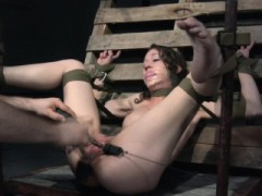 Restrained Sub Caned On Entire Body