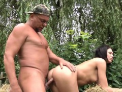 Old Farmer Fucks Hot Tattoed Brunette