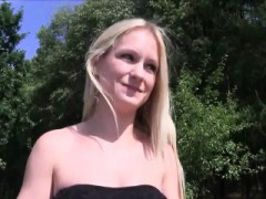 Skinny Blonde Fucks In Park Outdoor