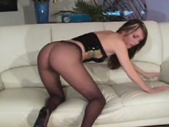Chick With Bushy Snatch Wriggles In Tights Exposing Goodies
