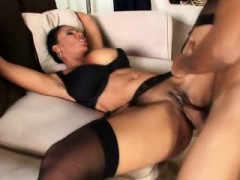 Ebony Chick With Huge Hooters Gets Pumped And Blows His Big Rod