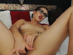 Nerdy Babe Strips And Finger Fucks Her Tight Pussy