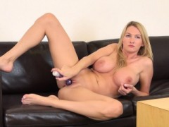 Bodacious Blonde Mom Blake Rose Makes Herself Cum On The Black Couch