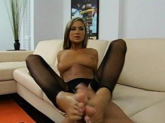Gripping And Footjob Is Our Lascivious Brunette's Specialty