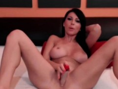 Nasty Brunette Big Tits Playing With Dildos