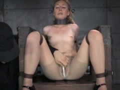 Spreadeagle Bonded Slave Squirts While Toyed