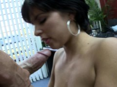 Pale Black-haired Beauty Sucking Cock And Riding Too