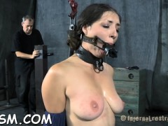 Gagged Angel Is Hoisted Up Before Hard Fur Pie Prodding