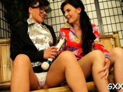 Mature Lesbian Sweetheart Gets Her Shaved Pussy Toyed