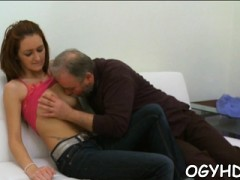 Old Crock Enjoys Fucking Young Soaked Girl Doggy Style