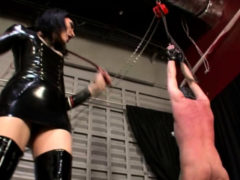 Tied Slave Is Whipped Hard By His Mistress