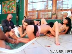 Dude Gets His Ramrod Moist By Multiple Pecker Hungry Babes