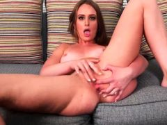 Beautiful Coed Daisy Stone Is Alone In The Living Room As