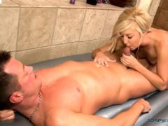 Slutty Blonde Gives A Bj After Massage